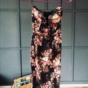 ASOS v wire floral midi dress